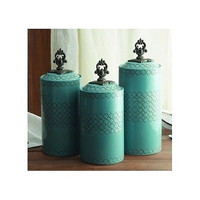 Canister Set Teal Blue Ceramic 3 Piece Asian Kitchen Counter Jars Dry Goods NEW
