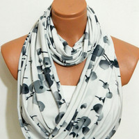 Jersey fabric Infinity Scarf ,Grey,ivory scarf,Loop scarf, Circle Scarf ,Jersey Scarf,Womens Accessoriesnomad scarf,Cowl,