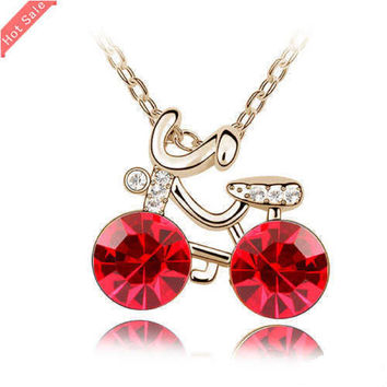 18K Gold Plated Rhinestone Crystal Bicycle Necklaces & Pendants