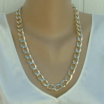 Rhodium Plated Large Curb Link Chain Necklace 24 inches Jewelry