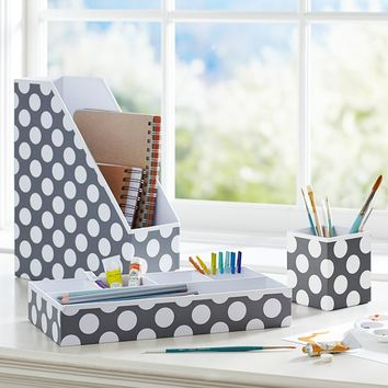 Preppy Paper Desk Acc - Gray Dottie