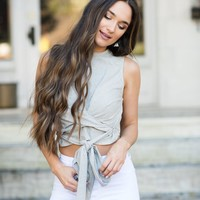 Stretchy Wrap Crop Top- Grey - These Three Boutique