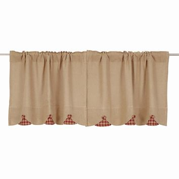 Burlap with Burgundy Check Tier Curtains 24""