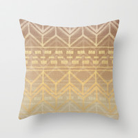 Neutral Tan & Gold Tribal Ikat Pattern Throw Pillow by micklyn