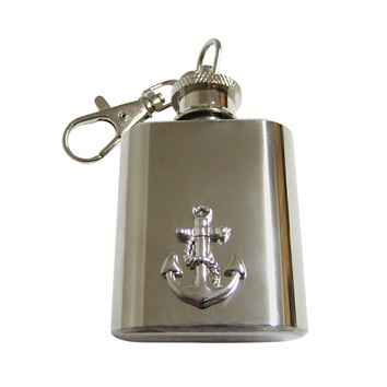 Detailed Nautical Anchor 1 Oz. Stainless Steel Key Chain Flask