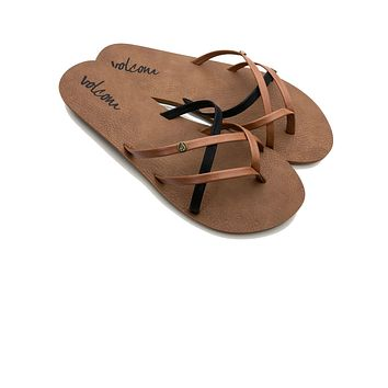 Volcom Women's New School Sandals - Brown and Black