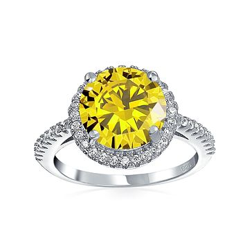 3CT Canary Yellow Solitaire CZ Halo Engagement Ring Sterling Silver