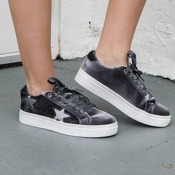 Best Foot Forward Gray Velvet Star Sneaker