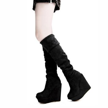 Hot Deal On Sale High Heel Knee-length Winter Wedge Suede Boots [11203300039]