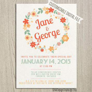 Cute Orange and Teal Flower Wreath Wedding Invitation - Floral Pretty Laurel Classy Print Elegant Professional Fun - DIY Printable (013)