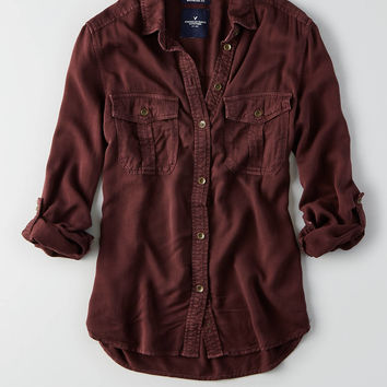 AEO Utility Pocket Shirt, Raisin Red
