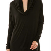 Long Sleeve Tunic Cowl Neck Top in Black