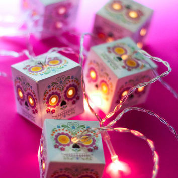 Sugar Skull dia de los muertos LED lanterns Day of the Dead or Halloween fairy lights for bedroom