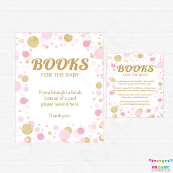 Pink and Gold Baby Shower Bring a Book Instead of a Card Insert + Sign - Book Request Baby Shower - Bring a Book Insert Printable CB0003-pg
