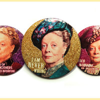 Downton Abbey magnets, glitter round magnets, downton abbey quotes, party, gift, lady Violet Crawley, Maggie Smith, accessories, gold, pink