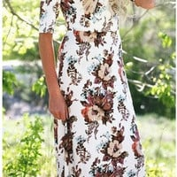 White Floral Print Half Sleeve Maxi Dress