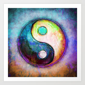 Yin Yang - Colorful Painting V Art Print by Dirk Czarnota