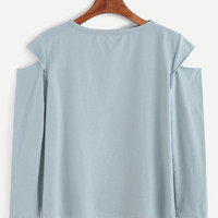 Light Blue Cut Out T-shirt