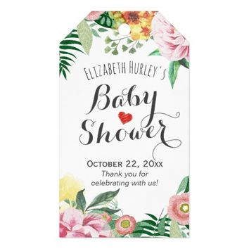 Watercolor Floral Baby / Bridal Shower Thank You Gift Tags