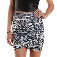 Black/White Aztec Print Ruched Mini Skirt by Charlotte Russe