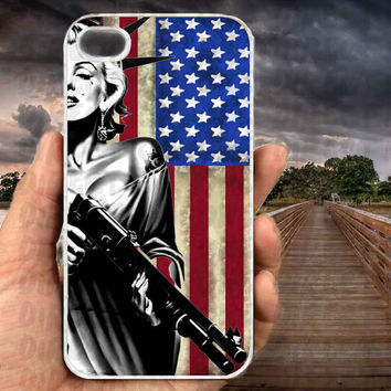 Marilyn Monroe Liberty Gun American Flag-iPhone cases 4/4S Case iPhone 5/5S/5C Case Samsung Galaxy S3/S4 Case