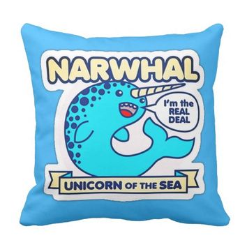 Narwhal Unicorn Of The Sea Throw Pillow