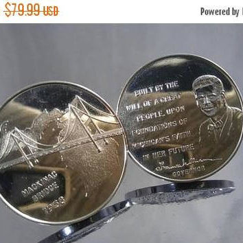 Now On Sale Vintage Big Cuff Links- Rare Historical Political Governor Jewelry - Gift For Him - Michigan Mackinac Bridge Souvenir 1958