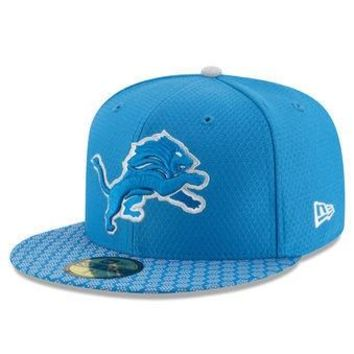 NFL Detroit Lions Blue 2017 Sideline Official 59FIFTY Fitted Hat