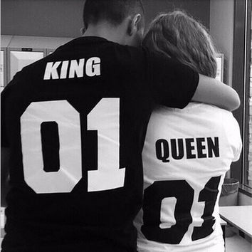 1 PC Hip-hop King And Queen Short Sleeve Couple T-shirt :White(For Women),Black(For men) DLS [10312511491]