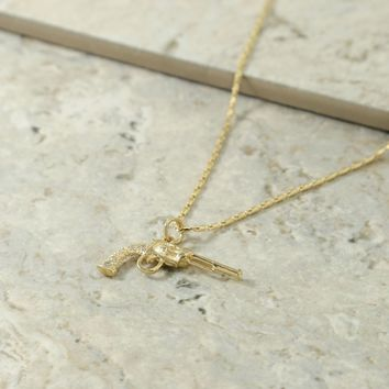 The Gold & Crystal Revolver Charm Necklace