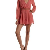 Dusty Rose Crochet-Back Long Sleeve Romper by Charlotte Russe