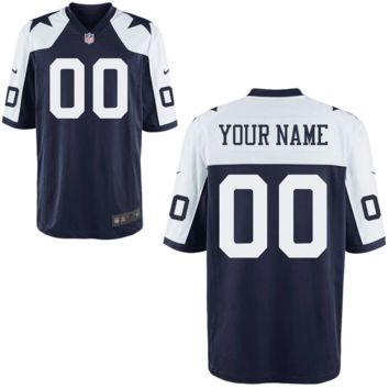 KUYOU Dallas Cowboys Jersey - Men's Blue Thanksgiving Day Custom Game Jersey