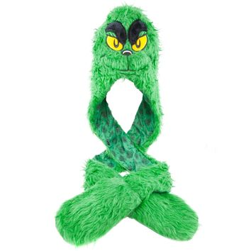Dr. Seuss - Grinch Plush Hat With Attached Mittens