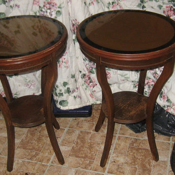 2  MATCHING     antique deco black and gold reversed painted  glass insert top wood drum tables  style