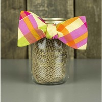 The Yellow, Pink, and Orange Plaid Bow Tie