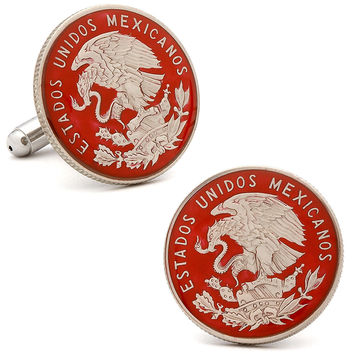 Hand Painted Mexican Coin Cuff Links, Cufflinks