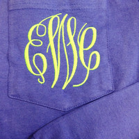 Monogrammed Pocket Tee Shirt - LONG SLEEVES