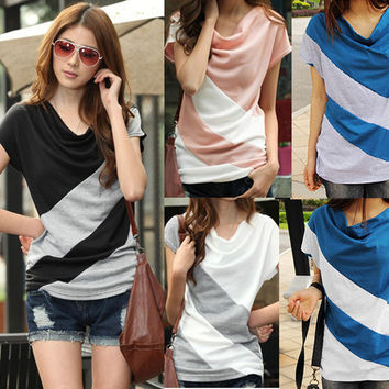 Women's Stripe Batwing-sleeved Blouse Short Sleeve Cotton Tops Double-Colored Striped Patchwork Round Neck Tops for Women Lady girl 031501
