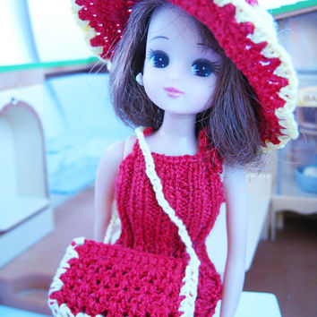 Red Knit Doll Dress-Handmade-Doll Gown-Chic Chick Clothing- Barbie Dress-Hat-Bag