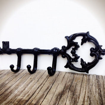 Shabby Chic Black Ornate Skeleton Key Wall Hook - Victorian Cottage Chic