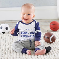 Baby Aspen BA16114BL My First Gameday 2 Piece Outfit with Rattle 0 6 mos