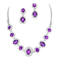Purple Regal Statement Bridal Bridesmaid Necklace Earring Set Silver Tone