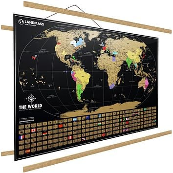 "Extra Large Scratch Off Map Of The World With Frame - 24 x 36 Inches Scratch Off World Map Poster - Made In The USA - Travel Map - 36"" Wide Frame Included - The Perfect Gift For Travelers"
