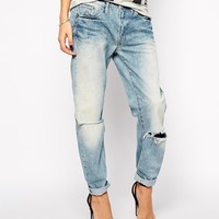G Star Type C 3D Boyfriend Jeans With Ripped Knees