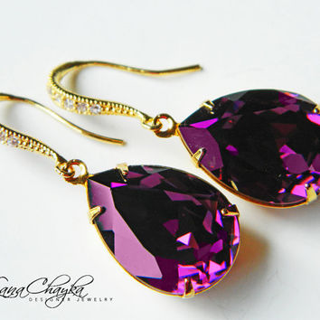 Wedding Mother of The Bride Gift Earrings Swarovski Amethyst Rhinestones Vermeil Gold Cubic Zirconia FREE US Shipping