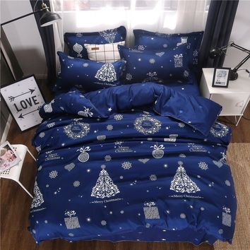 Christmas decorations tree soft bed linen set 3/4pcs bedding set soft Comfortable duvet cover bed sheet pillowcases bedclothes
