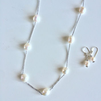 Beautiful Sterling Silver Chain w/ Natural Freshwater Pearls ~ 8-12mm Pearls -Matching Earrings set