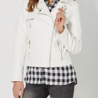 White Stitched Moto Jacket | Faux Leather Jackets | rue21
