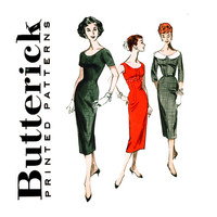 1950s Sheath Dress Pattern Bust 32 Butterick 8056 Scoop Neck Empire Waist Day Evening Dress Sleeve VariationsWomens Vintage Sewing Patterns