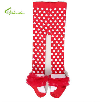 Fashion Children Leggings Baby Girls Big pp Pants Red Christmas Polka Dot Mesh Cotton Lace Kids Girl Panty-hose Clothing 1-7Y